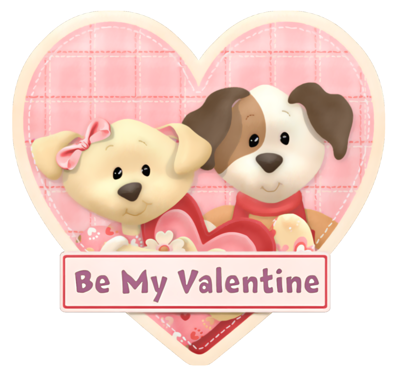 Pink Heart with Puppies Be my Valentine PNG Picture.