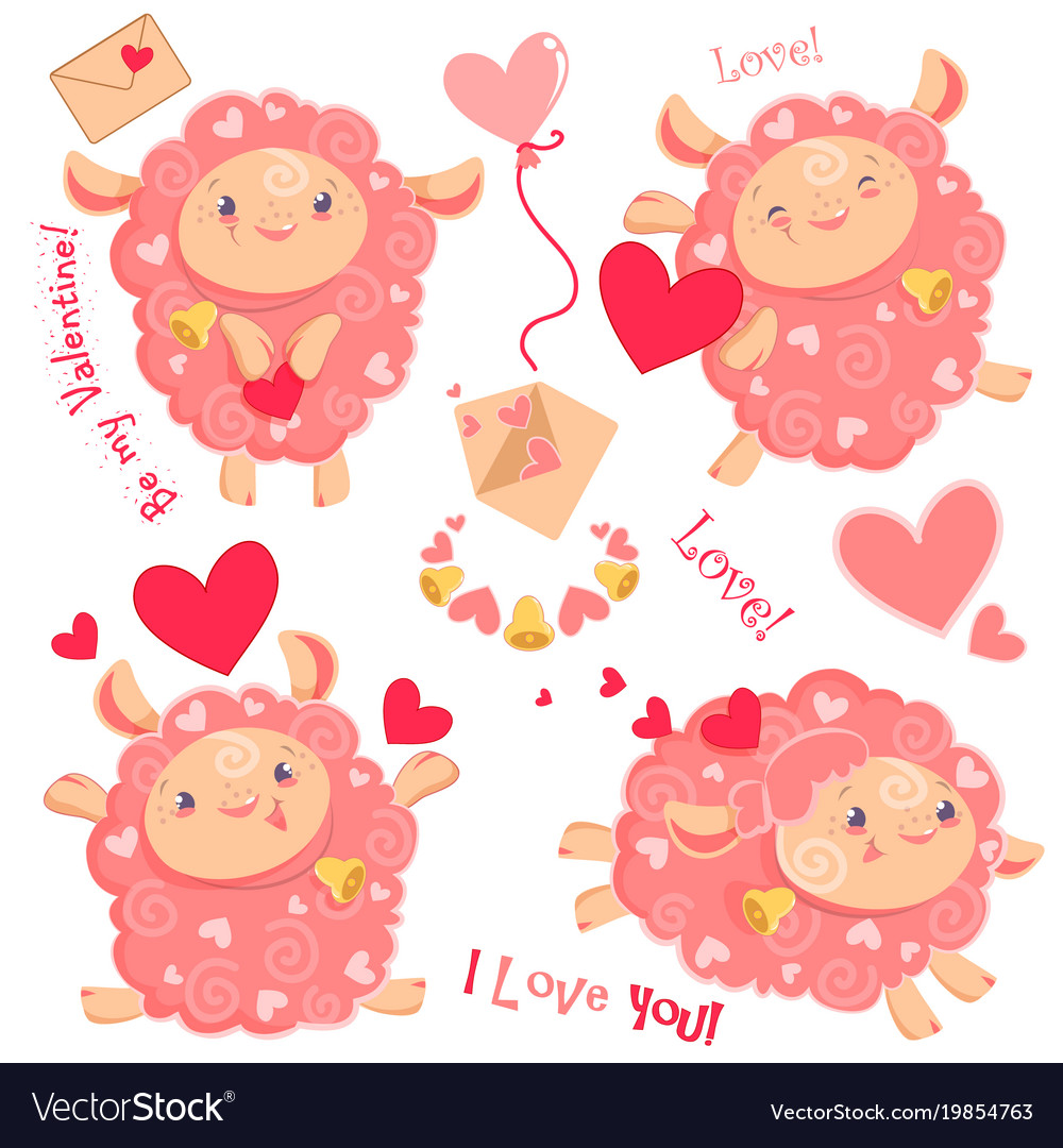 Valentine day clipart set of.