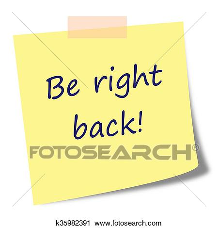 Be right back note on post it Clip Art.
