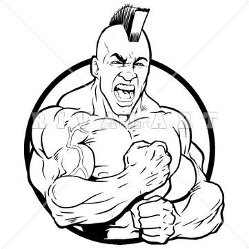 Mascot Clipart Image of A Strong Indian Brave Mascot.