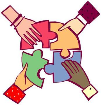 Clipart working together.