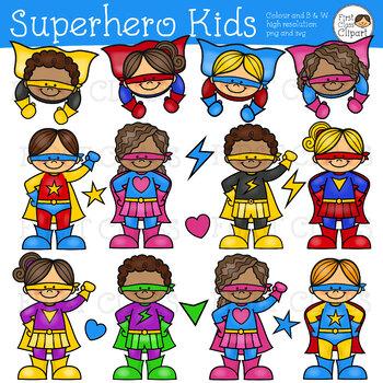 Superhero Clipart KIDS, Super hero Clip art kids, Superhero Children.