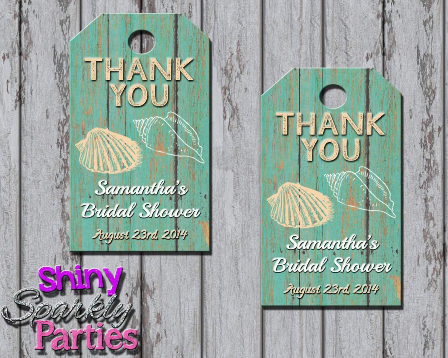 Beach Themed Bridal Shower Favor Tags.