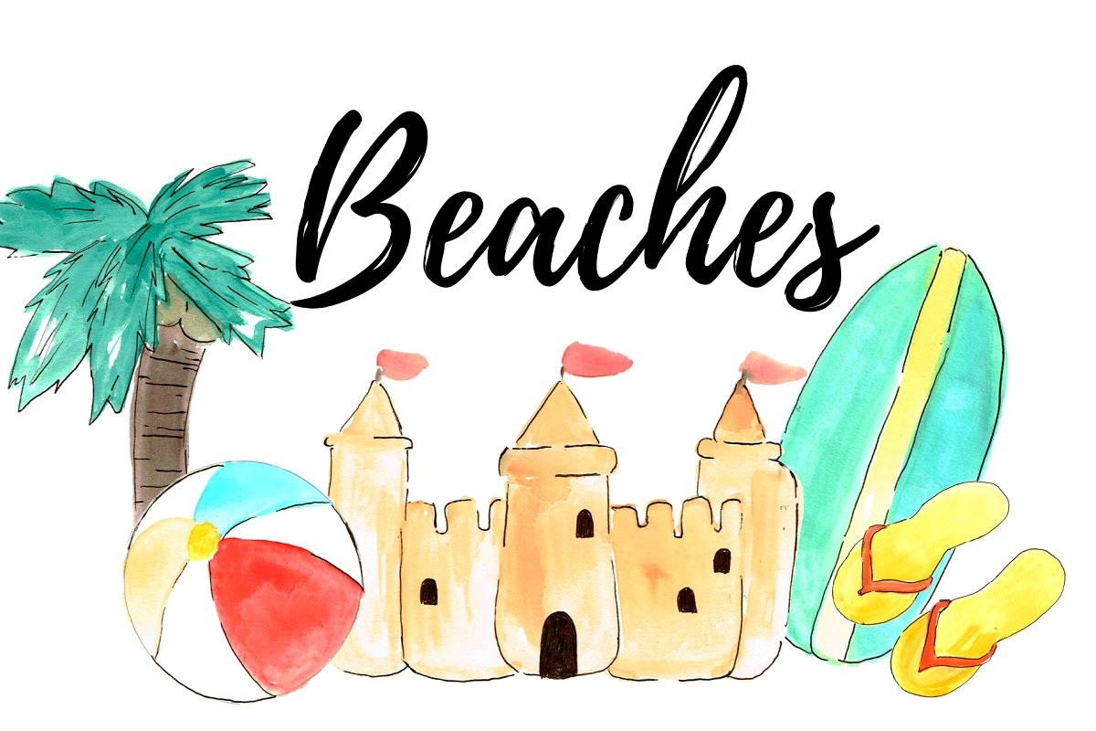 Watercolor Summer Beach Clipart.