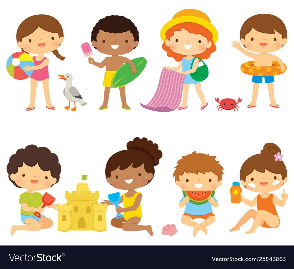 Kids at beach clipart set.
