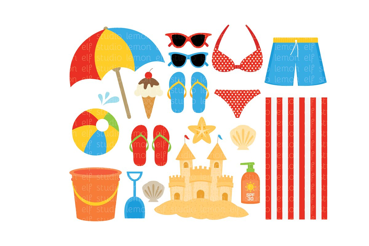 Beach Clipart (LES.CL70A) ~ Illustrations ~ Creative Market.