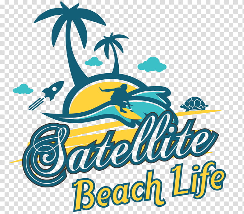 Beach Cartoon, Logo, Satellite Beach, Tshirt, Womens Slim.