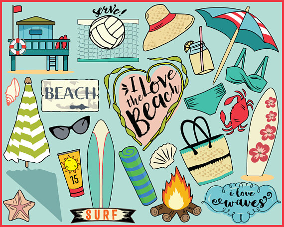 Beach Clipart, planner stickers, beach clip art, summer.