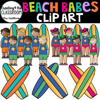 Beach Babes Clip Art {Kids at the Beach Clip Art}.