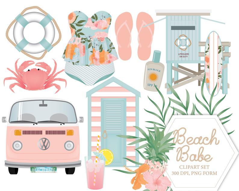 Beach Babe Clipart Set, summer, Nautical, Beach.