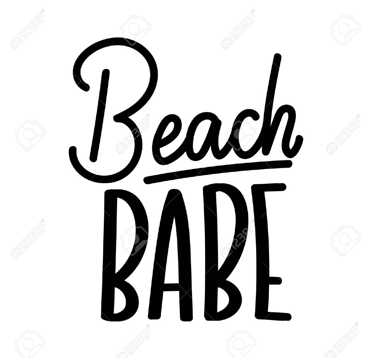 Beach babe lettering quote with hashtag. Summer inspirational...