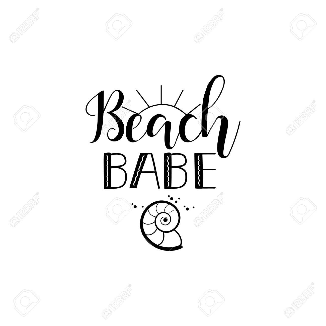 Beach babe lettering. Summer inspirational quote. design for...