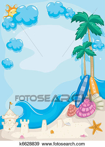Summer Beach Background Clip Art.