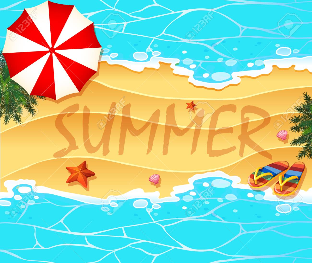Summer theme background wtih beach and sea illustration.