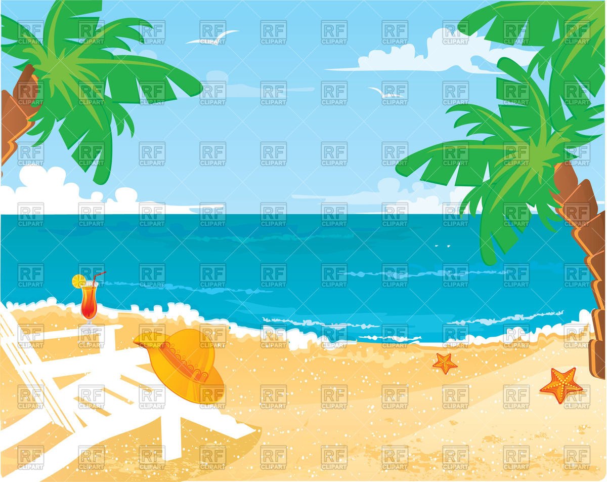Tropical background with beach, ocean, palm trees and sun lounger Stock  Vector Image.
