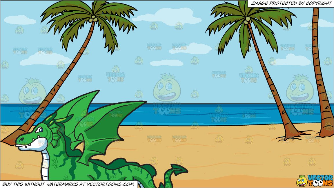 A Flying Dragon and A Calm Beach Background.
