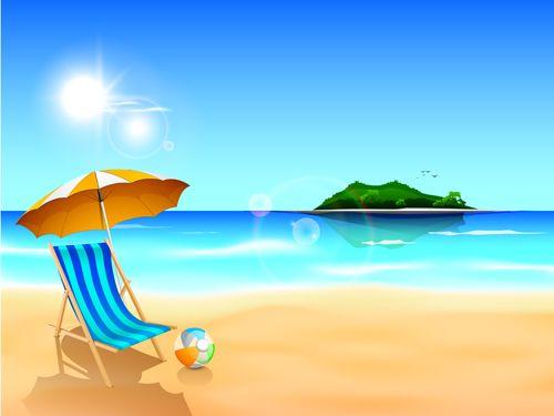 Summer holiday beach creative background vecor 01.