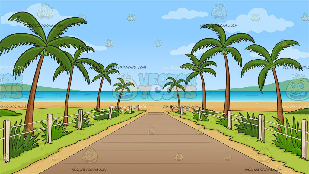 Pathway To A Tropical Beach Background.
