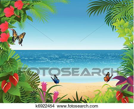 Tropical beach background Clipart.