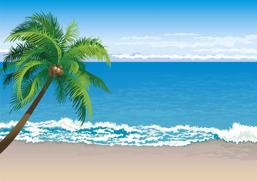 Elements of Tropical Beach background vector art 04.