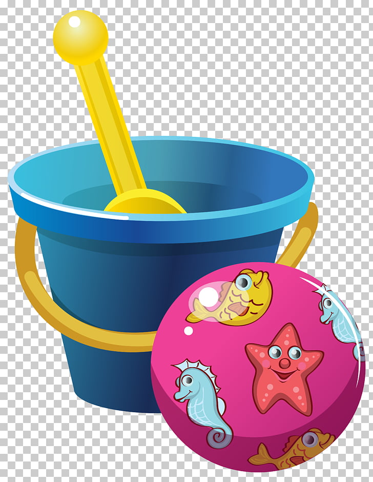 Bucket Shovel , Beach Bucket and Ball , blue bucket with.