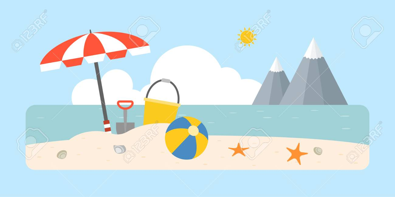 Beach scene with shovel and bucket, beach ball, umbrella on coastal...