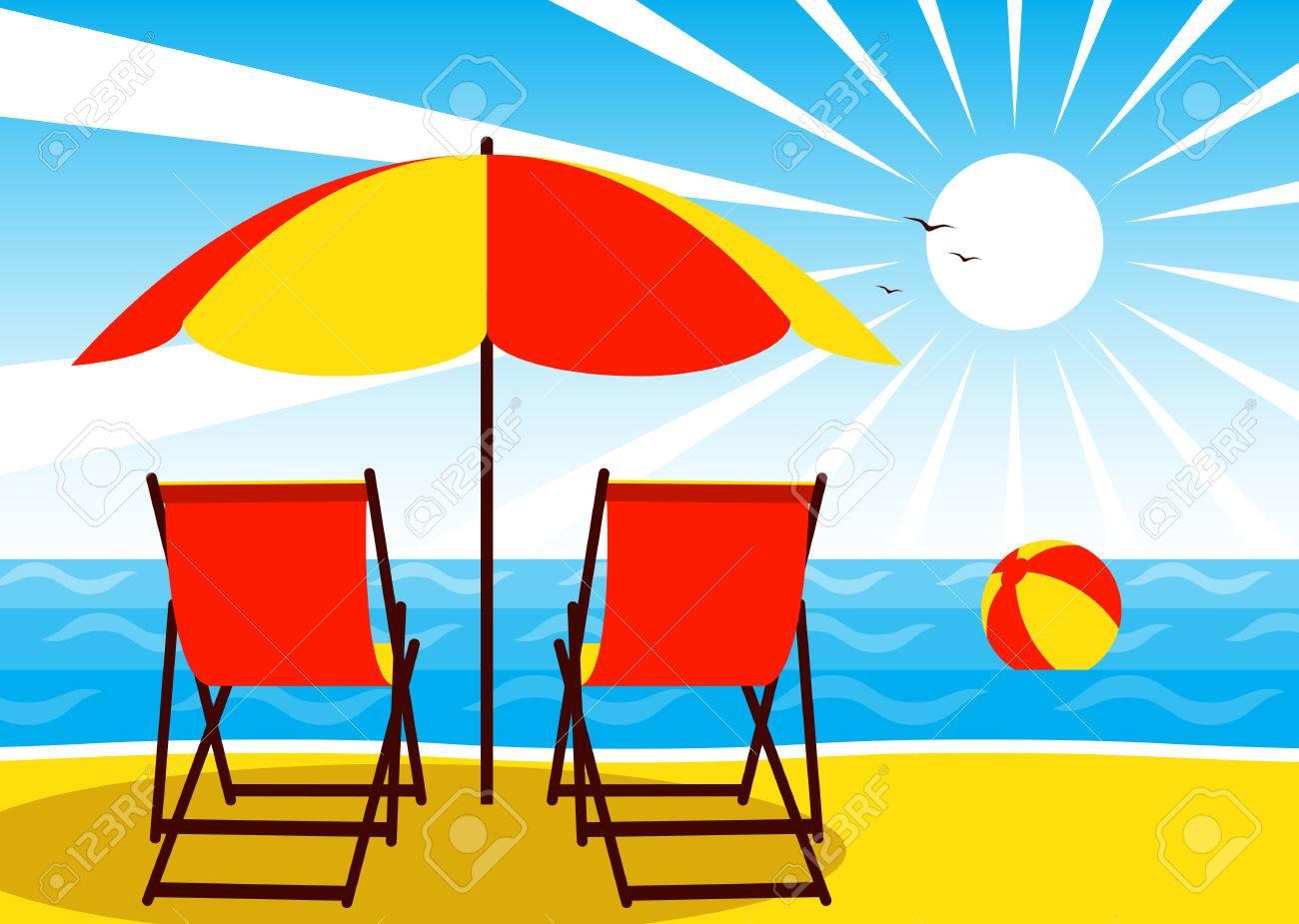 vector deck chairs under umbrella on the beach and beach ball...