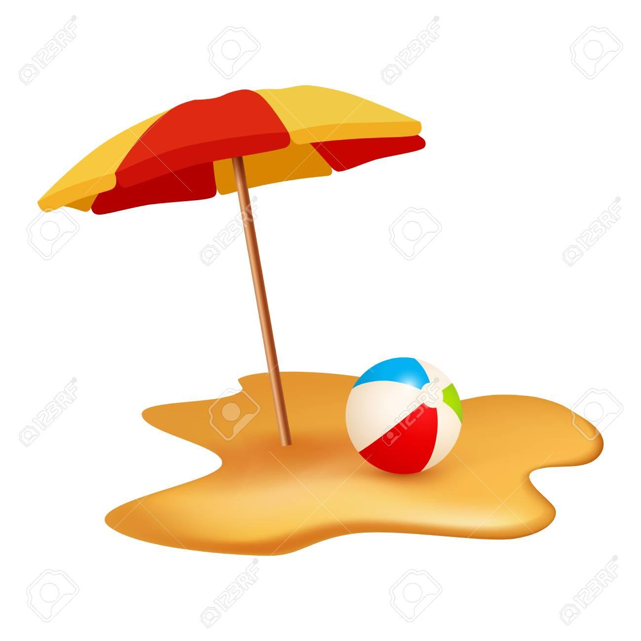 Summer holidays objects. Beach ball and umbrella. Vector illustration...
