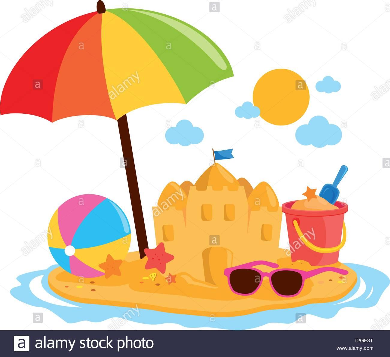 Beach summer vacation island with beach umbrella, a sandcastle, toy.