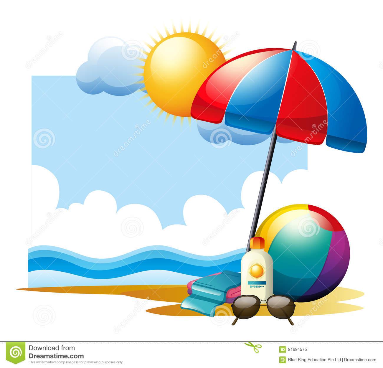 Summer Scene With Ball And Umbrella On Beach Stock Vector.