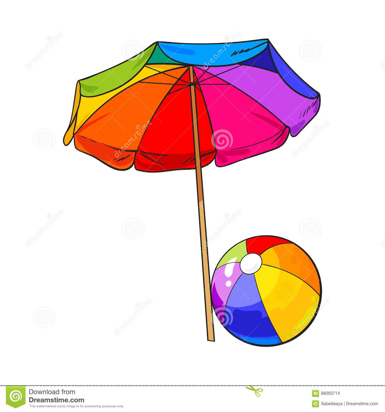 Rainbow Colored, Open Beach Umbrella And Inflated Ball Stock Vector.