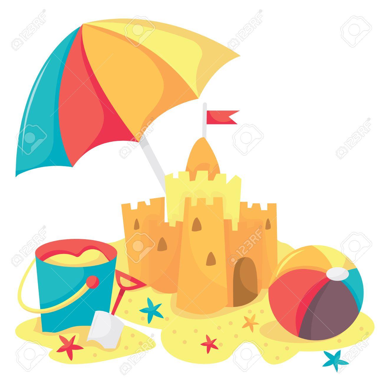 A cartoon vector illustration of sandcastle, bucket, beach ball...