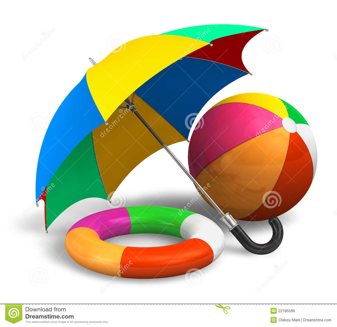 Beach Items: Color Umbrella, Ball And Lifesaver Stock Illustration.