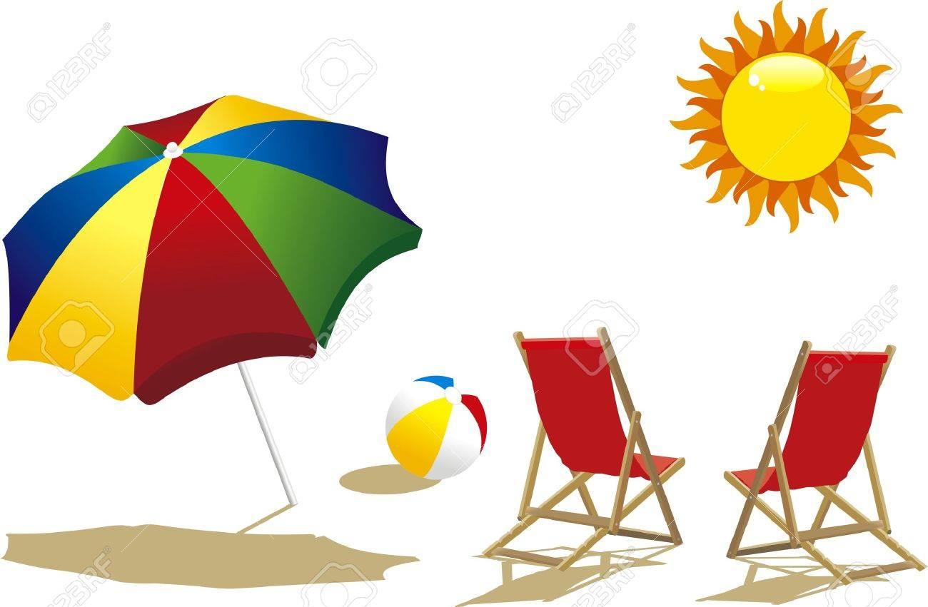 deckchair with umbrella, deckchair and beach ball.