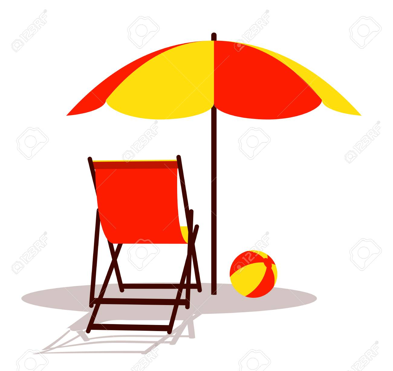 vector deck chair and beach ball under beach umbrella isolated...