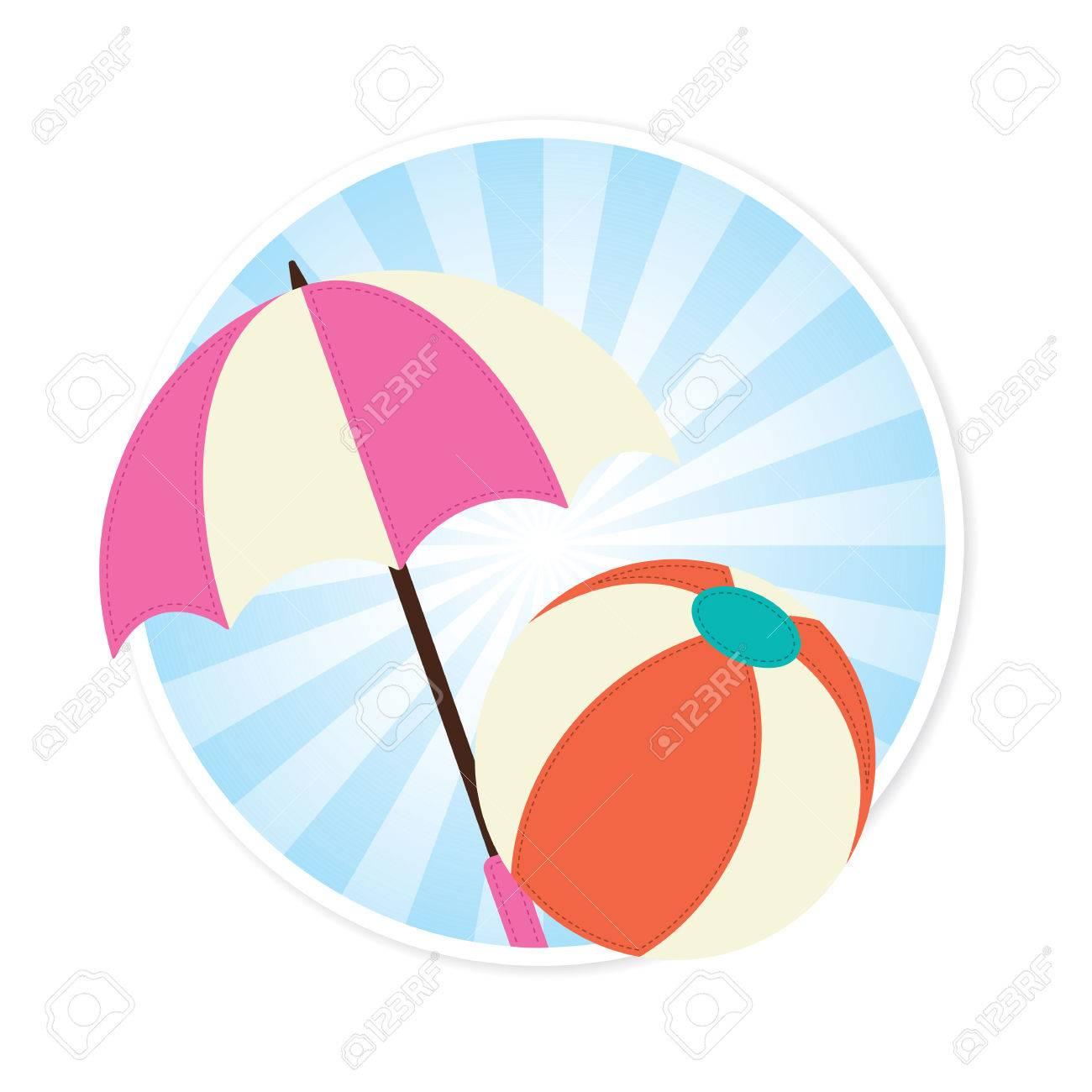 Beach Ball and Sun Umbrella Illustration.