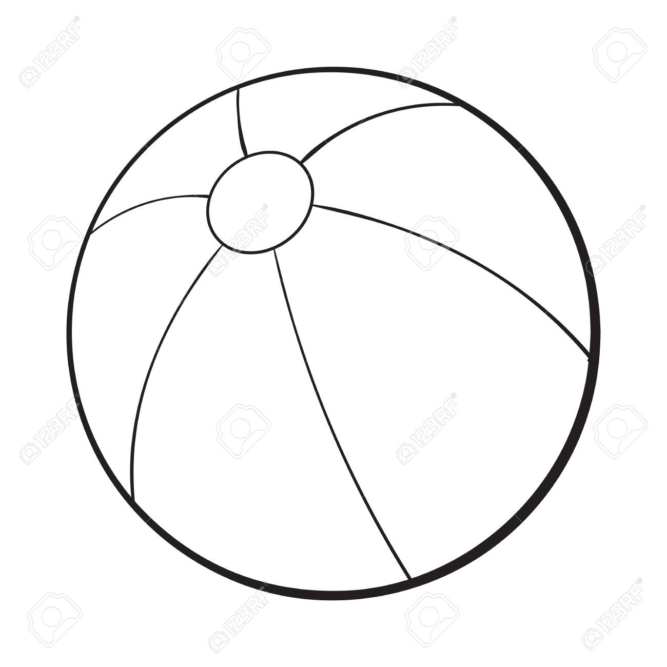 Black and white inflated beach ball, sketch style vector illustration...