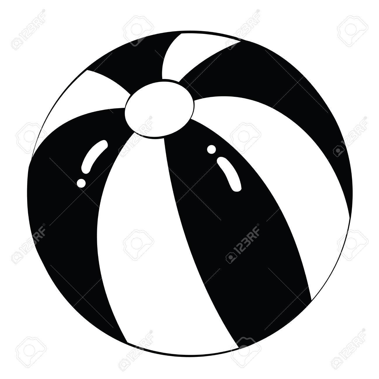 Black outline vector beach ball on white background..