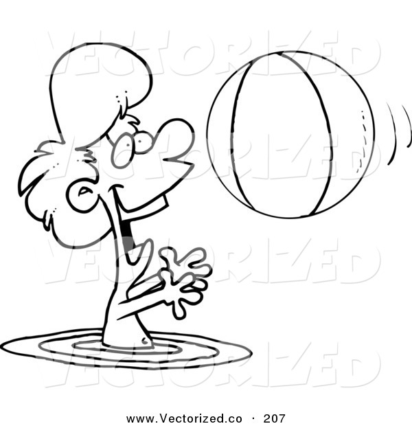 Vector of a Coloring Page Outline of a Boy Playing with a Beach.