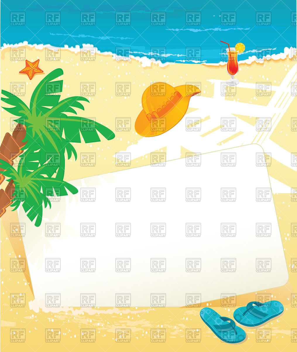 Summer banner on the beach Stock Vector Image.
