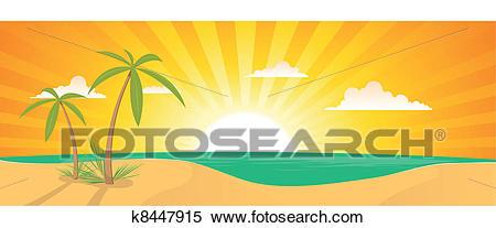 Summer Exotic Beach Landscape Banner Clipart.