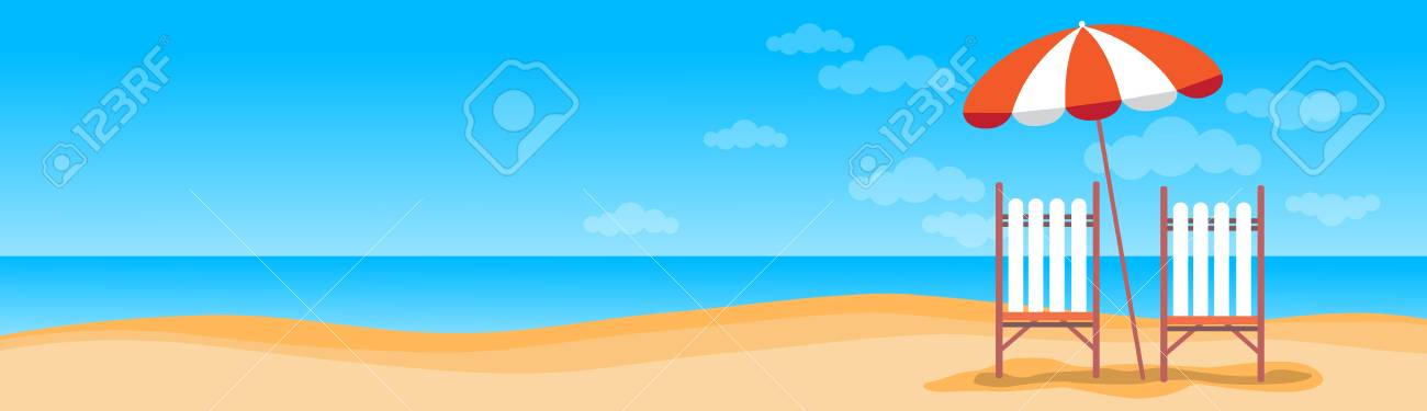 Summer Beach Vacation Sunbed With Umbrella Sand Tropical Banner...