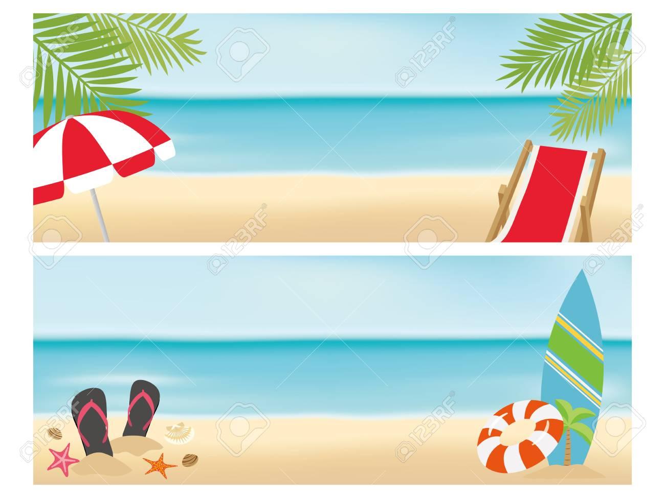 Summer beach banner set.