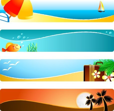 Free Sunshine Beach Banner Clipart and Vector Graphics.