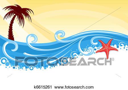 Tropical beach banner Clipart.