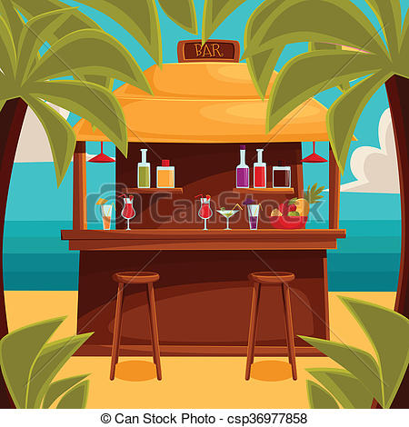Stock Illustrations of Summer bar, beach cafe with palm trees.