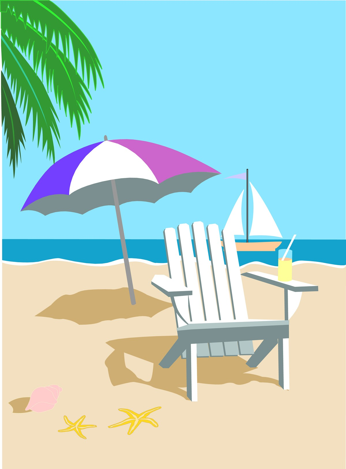 Cartoon Beach Clipart.