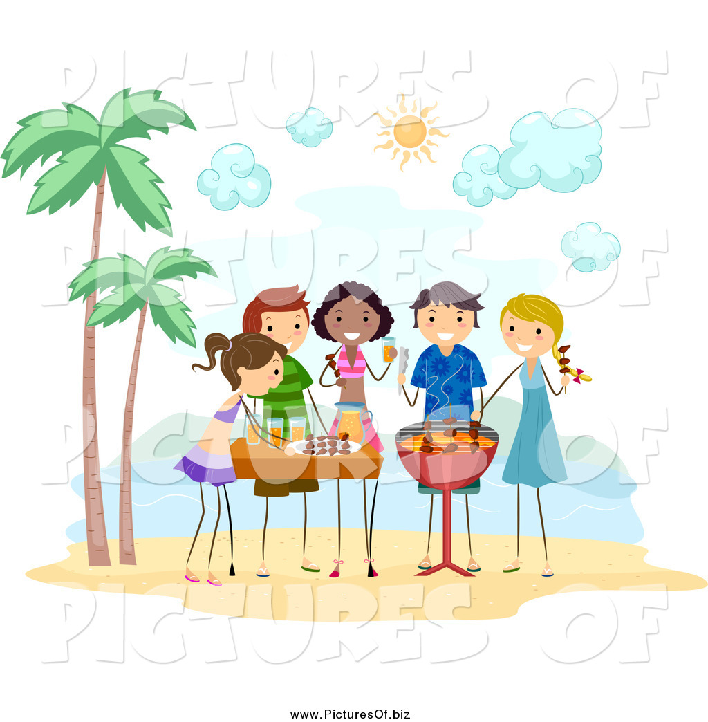 Vector Clipart of Stick People Having a Bbq Beach Party by.