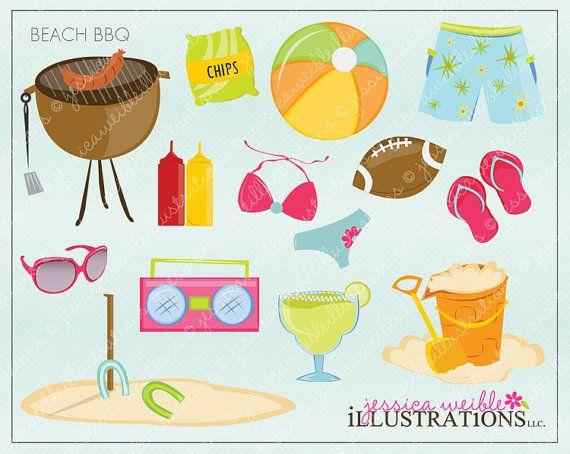 Beach BBQ Cute Digital Clipart for Card Design by.