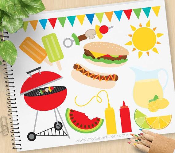 Summer BBQ Clipart, barbecue, picnic, lemonade, hamburgers.